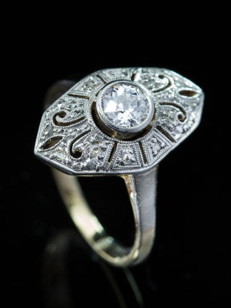 Antique Art Deco Diamond Solitaire Navette Ring