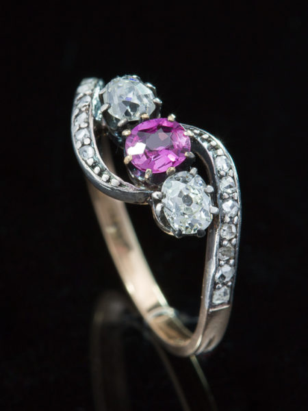 Art Nouveau Natural Pink Sapphire And Diamond Three Stone Crossover Ring