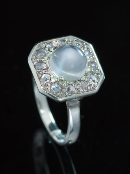 Antique Art Deco French Moonstone Diamond Cluster Halo Ring
