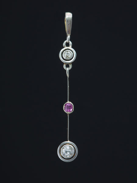 Art Deco Diamond And Pink Sapphire Target Halo Pendant