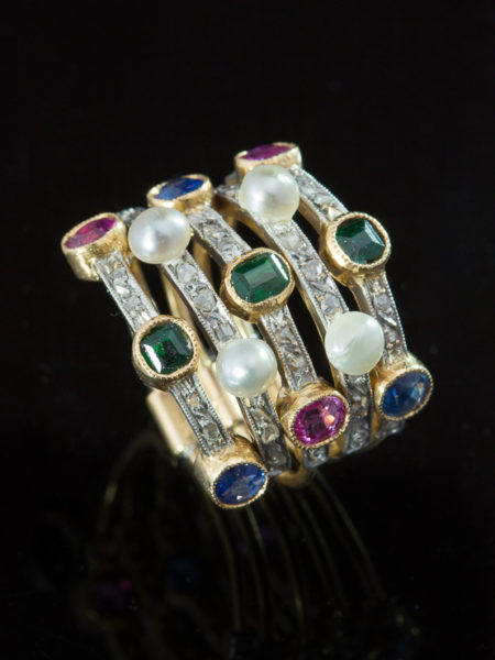 Edwardian Rare Natural Sapphire Tourmaline Pearl And Diamond French Harem Ring