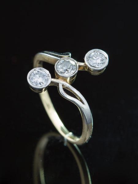 Art Nouveau Diamond Trilogy Three Stone Sophisticated Ring