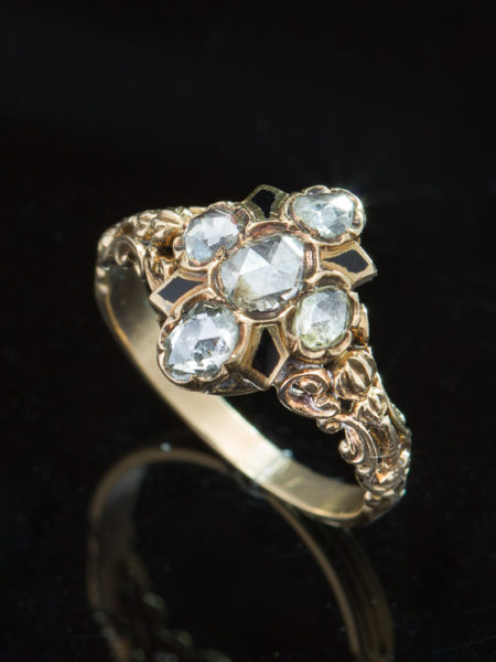 Genuine Victorian Dramatic Rose Cut Diamond And Enamel Cluster Halo Ring