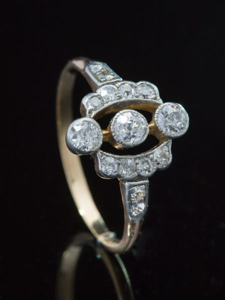 ( reserved to L P )Antique Edwardian Diamond Feminine Trilogy Three Stone Ring