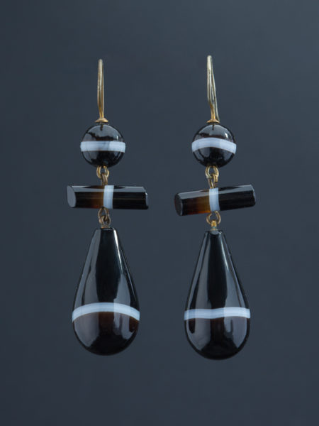 Genuine Antique Victorian Banded Onyx Drop Earrings