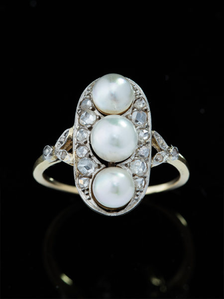 Edwardian Sophisticated Pearl And Diamond Three Stone Ring