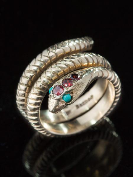 Vintage Garnet And Turquoise Sensual Snake Ring