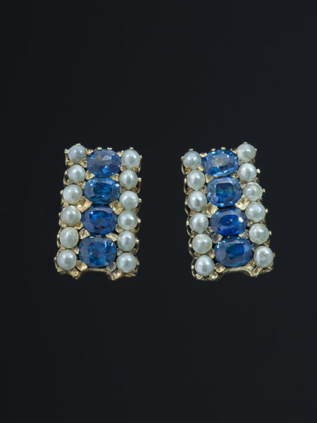 Victorian Natural Sapphires And Saltwater Pearls Chic Earrings