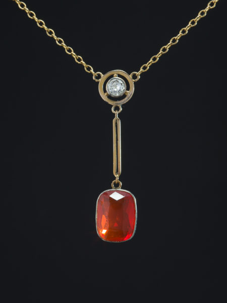 Art Deco Gorgeous And Rare Fire Opal And Diamond Target Pendant Necklace