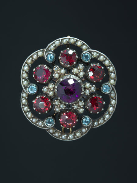 Victorian Natural Amethyst Garnet Aquamarine And Pearl Brooch Flower Pendant