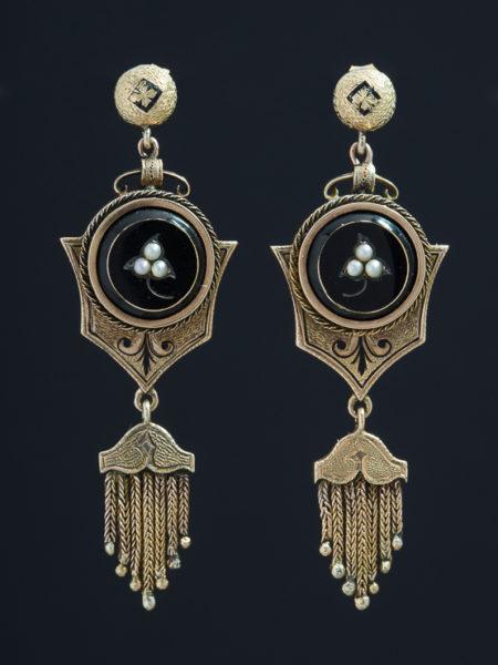 Antique Genuine Victorian Natural Pearl Taille Depargne Tassel Earrings