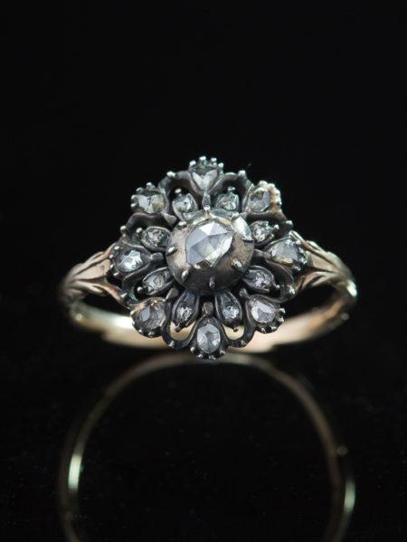 Antique Georgian Exquisite Diamond Flower Cluster Ring