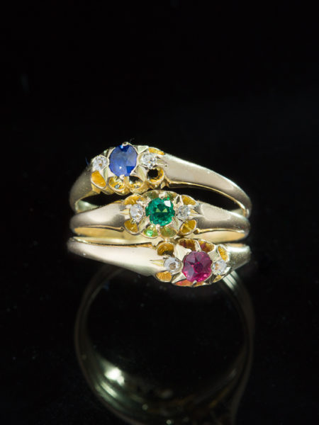 Rare Antique Victorian Natural Sapphire Ruby Emerald And Diamond Trilogy Ring
