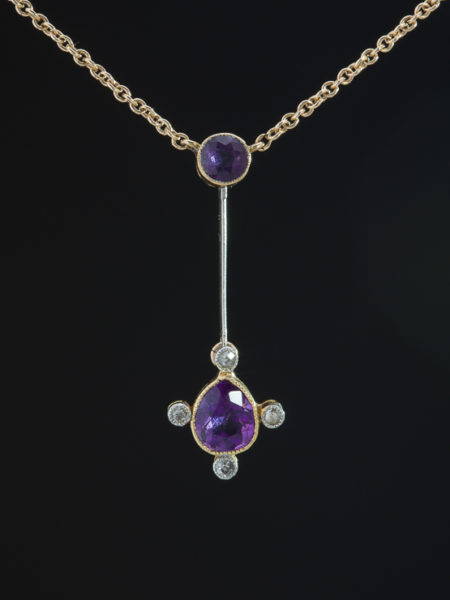 Antique Edwardian Natural Amethyst And Diamond Delicate Pendant