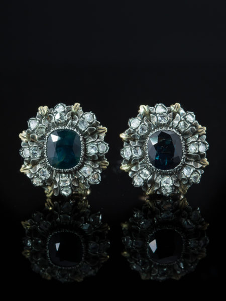 Vintage Natural Sapphire And Diamond Buccellati Earrings