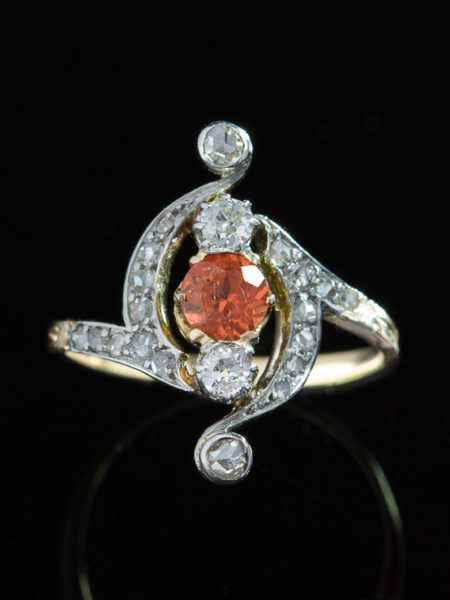 Edwardian Natural Mandarin Garnet And Diamond Elegant Three Stone Ring