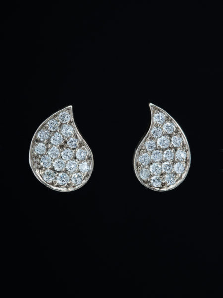 Vintage 1.74 ct Diamond Drop Shape Stud Earrings