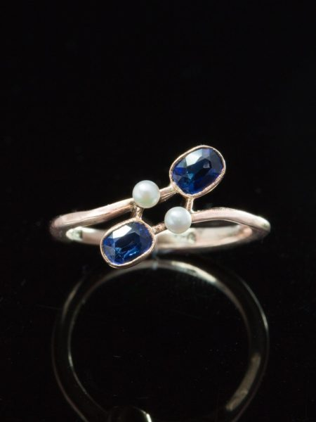 ( reserved) Antique Edwardian Romantic Natural Sapphire And Pearl You And Me Twist Ring