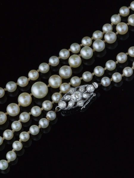 Edwardian Sophisticated Diamond And Saltwater Pearl Single Strand Necklace
