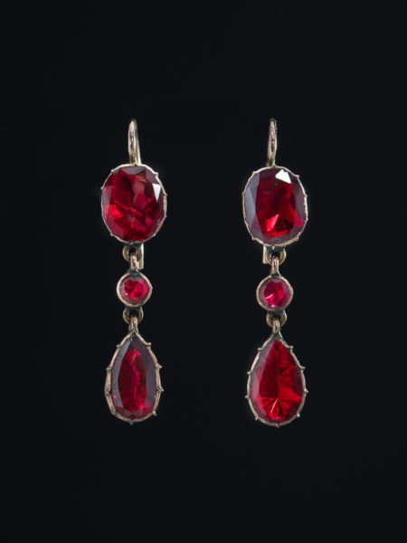 Rare Antique Gorgeous Georgian Gorgeous Garnet Drop Earrings