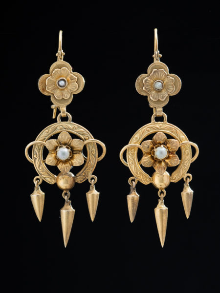 (Reserved!) Antique Victorian Natural Pearl Flower Drop Earrings
