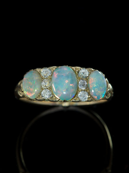 Antique Victorian Natural Opal And Diamond Three Stone Ring