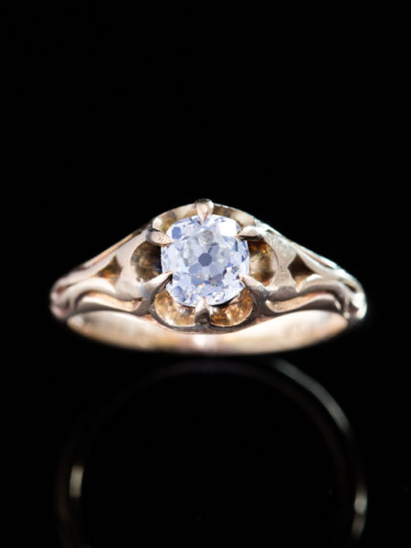 Antique Victorian .83 ct Diamond Flower Solitaire Single Stone Ring