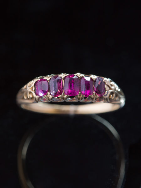 Antique Victorian Gorgeous Natural Ruby Five Stone Ring