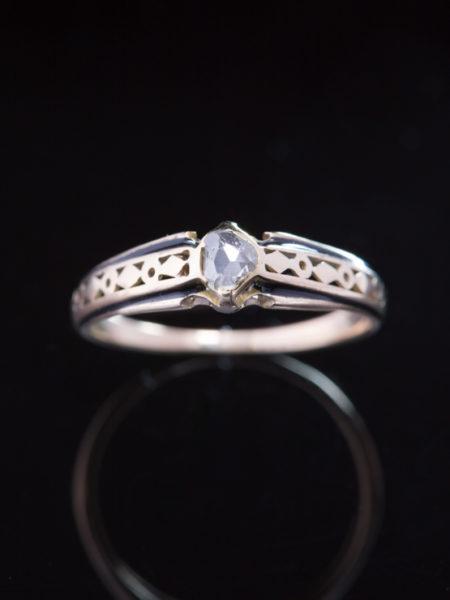 Antique Victorian Autro Hungarian Diamond And Enamel Solitaire Single Stone Ring