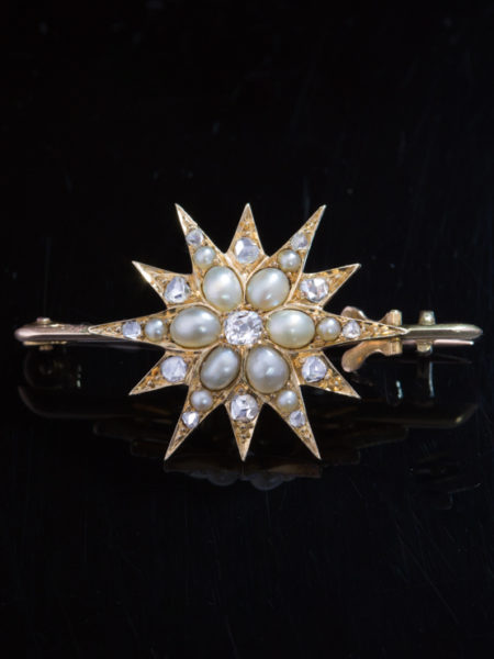 Antique Victorian Diamond And Pearl Star Pendant Brooch