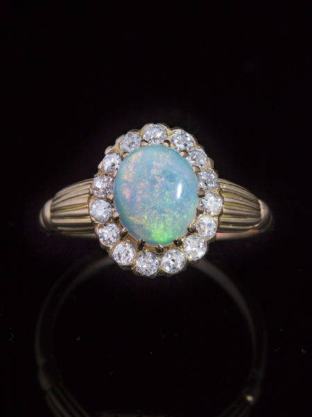 Antique Victorian Gorgeous Natural Opal And Diamond Halo Cluster Ring