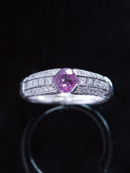 Estate Gorgeous Natural Pink Sapphire And Diamond Single Stone Solitaire Ring