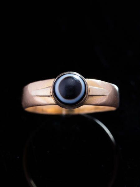 Genuine Rare Antique Victorian Bulls Eye Banded Agate 22 kt Gold Ring