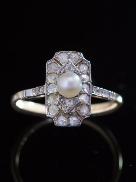 Antique Art Deco Pearl And Diamond Sophisticated Ring