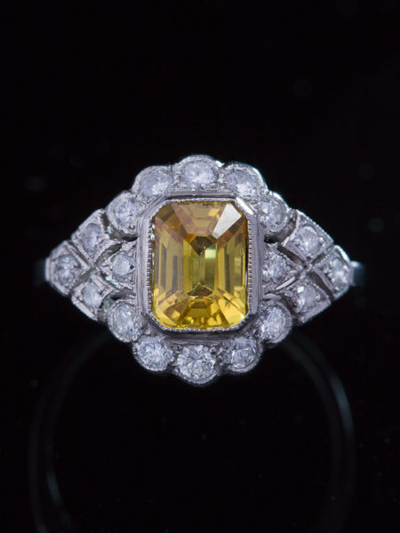 Vintage  Amazing Yellow Sapphire And Diamond Platinum Halo Cluster Ring