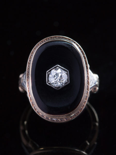 Sublime Art Deco Onyx And Diamond Single Stone Sophisticated Ring