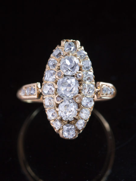 Genuine Antique Victorian 2,73 ct  Diamond Navette Three Stone Ring