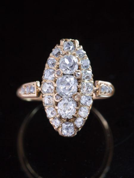 Genuine Antique Victorian 2,73 ct  Diamond Navette Three Stone Ring