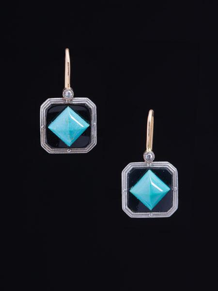 Art Deco Amazing Spike Turquoise Onyx And Diamond Fashion Earrings