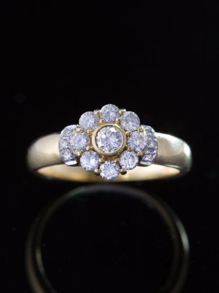 Estate Diamond Cluster Flower Halo Band Ring
