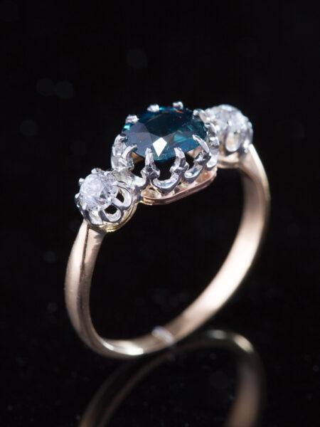 Antique Edwardian French Natural Sapphire And Diamond Trilogy Ring