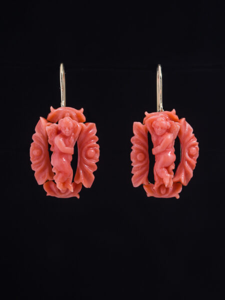 Antique Victorian Rare Natural Coral Romantic Cherub Earrings