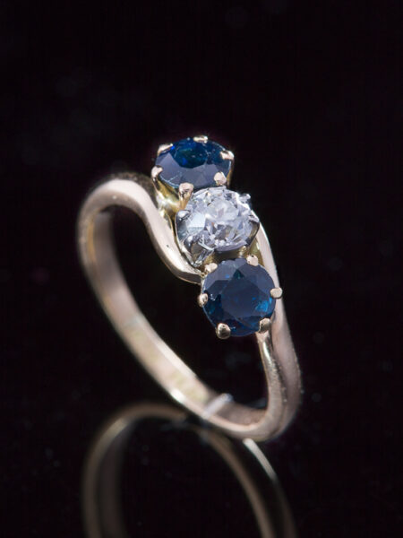 Vintage Diamond And Natural Sapphire Crossover Three Stone Ring