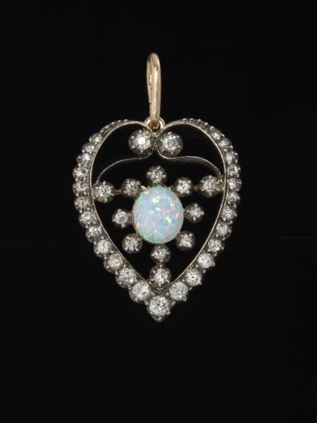 Victorian Natural Opal And Diamond Romantic Heart Brooch Pendant