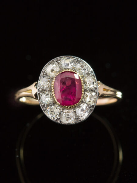 Antique Edwardian Natural No Heat Burmese Ruby And Diamond Halo Cluster Ring