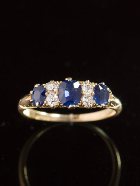 Antique Late Victorian Natural Sapphire And Diamond Trilogy Three Stone Ring