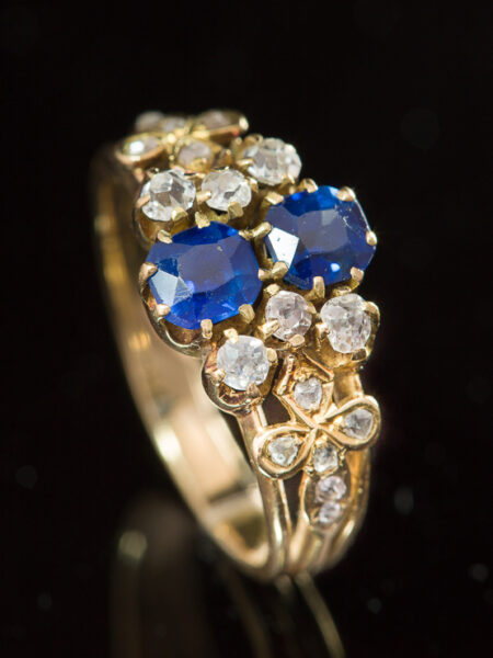 Antique Victorian Natural Sapphire And Diamond Flower Ring