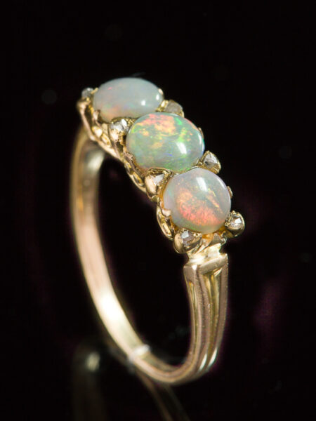 Antique Vintage Natural Opal And Diamond Trilogy Three Stone Ring