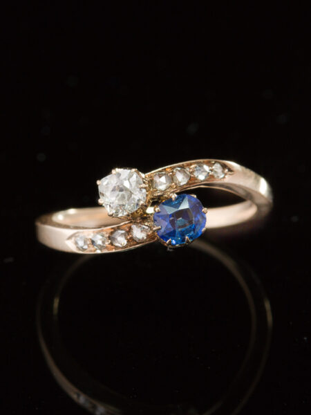 Antique Edwardian Natural Sapphire And Diamond Austro-Hungarian You And Me Ring