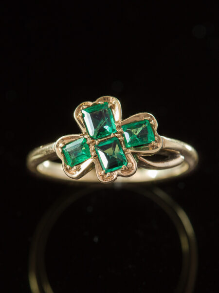 Antique Late Victorian Natural Emerald Four Leaf Clover Cluster Ring